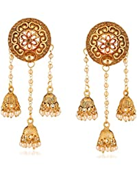 bf3da67c6a6 Rich Lady Traditional Gold Plated lct Stone Studded Bahubali Alloy Designer  Jhumki Earring For Womens
