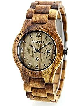 BEWELL Herren Damen Holz Quarz Uhr Wasserdicht Luminous Zebrano Holz beiläufige Armbanduhr mit Kalender