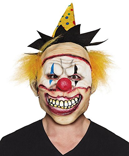 ror-Clown Latex-Maske mit Hut und Haaren Halloween Killer gruselig ()