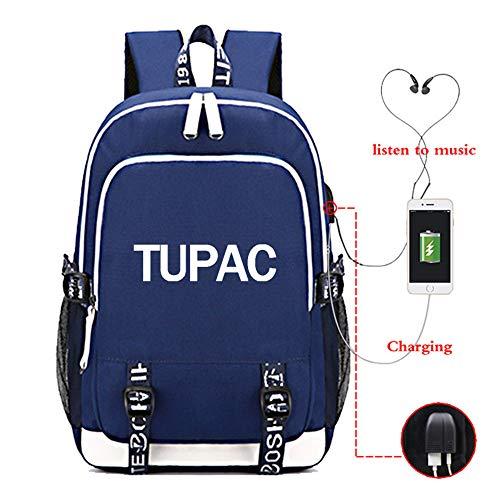 HAIYANG Tupac 2 Pac Hip Hop Legend Multifunktions Rucksack USB Lade Laptop Rucksack Für Frauen Männer Jugendliche Schule Reisetaschen -