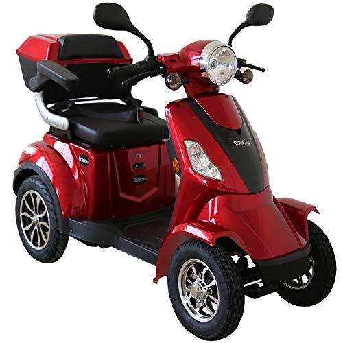 Rolektro E-Quad-25 Rot Elektromobil Elektroroller 4-Rad 1000W 25 Km/H RW 50KM Koffer Rückwärtsgang USB EU-Zulassung