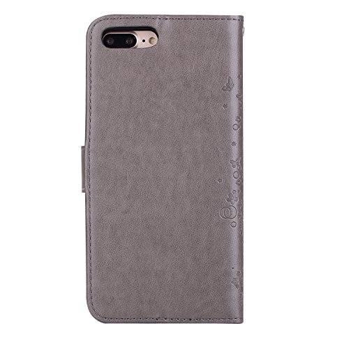Cover in Pelle Custodia per iPhone 7 Plus / 8 Plus,Aearl [Pellicole Protettive Display] Flip Cover Magnetico Snap-on Bookstyle Silicone TPU Custodie Case per iPhone 8 Plus / 7 Plus,Farfalla Viola Grigio