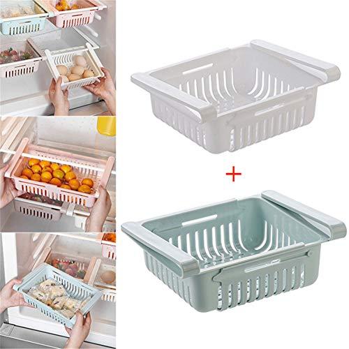 MON Fridge Organizer,Contenitore Salvaspazio Multifunzione in Plastica per Cucina,Frigorifero, Freezer, da Applicare al Ripiano del Frigo Come Fosse Un Cassettino (Blue+ White)