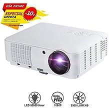 LESHP RD-804 - LED Proyector Cine en Casa Multimedia Home Cinema Videoproyector (1280 x 800, Full HD 1080, 2500 Lumenes, VGA, HDMI, USB, AV), color blanco