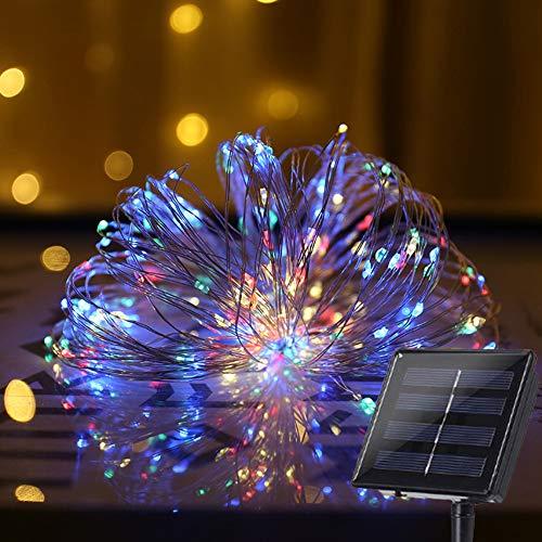 Luci stringa catena solare 100led 12m filo di rame, illuminazione luminose energia solari impermeabili,per giardino, portico, camera,recinto, natale, halloween, decorazioni di carnevale-colore