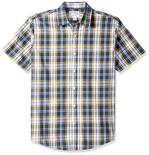 gular-Fit Short-Sleeve Stripe Shirt Buttondown-Hemd, Navy/Gold Plaid, US L (EU L) ()