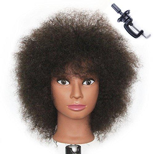 Afro Têtes D'exercice Tête À Coiffer 100% Cheveux Naturel Coiffure Cosmétologie Pratique Mannequin Poupée + Titulaire EHL0208D