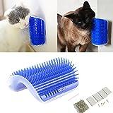 Tpocean, spazzola da toletta per gatto, angolare, da parete, per self-grooming, massaggio, gioco