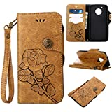 Moto G5 Protective Case, UNEXTATI Vintage Rose Pattern Stand PU Leather Flip Cover, Wallet Case Cover With Hand Strap For Moto G5 (Khaki)
