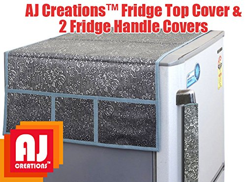 Aj-Creations-Silver-Decorative-Fridge-Top-Cover-And-2-Fridge-Handle-Covers
