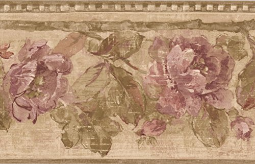 Purple roses floreale rustico wallpaper border design retrò, roll 15'x 17,8cm