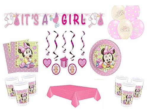 Partydekoset Babyparty Baby Shower Minnie Baby Mädchen rosa für 16 Personen 65teilig Pullerparty Baby Geburt Babyparty Komplettset Tischdeko Party Geschirr