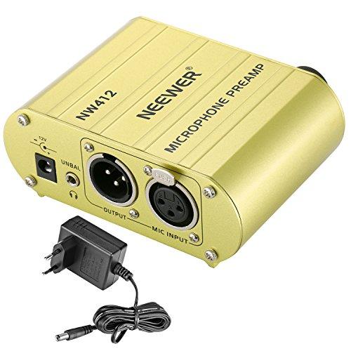 Neewer 48V Phantomspeisung 1-Kanal Versorgung Vorverstärker Kompakt Multifunktion mit Adapter für jeden Kondensator Mikrofon Musikaufnahme Ausrüstung (Gold)