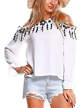Borla de Encaje con Hombros Descubiertos Top de Moda de Mujer Blusa con Camisa de Manga Larga Casual de Primavera...