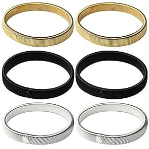 Siming 3 Paar Ärmelhalter, Damen Herren Hemd Sleeve Holders Anti Rutsch Armband (silber,gold und schwarz)