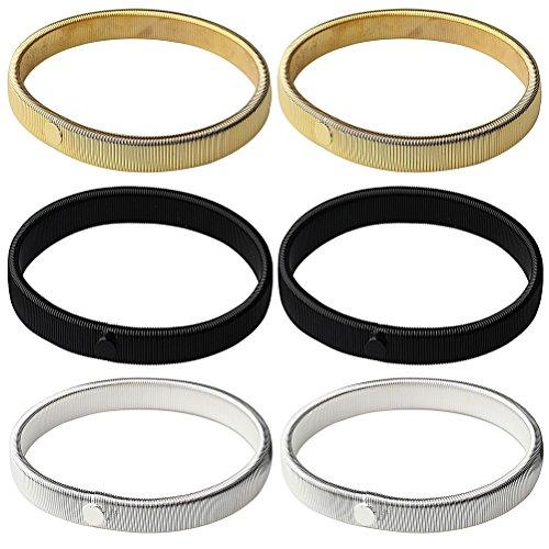Siming 3Paar Ärmelhalter, Shirt Sleeve Armbinden, Stretch Metall Armbinden, silber, gold und schwarz (Stretch Shirt Sleeve Zeigen)