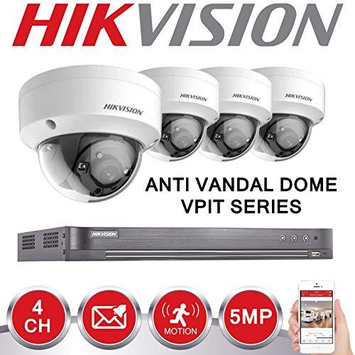 HIKVISION 5MP CCTV SECURITY SYSTEM 4K DVR 4CH 1TB H 265+ HIK 5 MP 2 8MM  ANTI VANDAL DOME CAMERA KIT UK SELLER