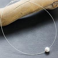 KLassisches Perlen-Collier mit weichem Silber-Reif und 925 Sterling Silber / in allen Längen / weiß schimmernde echte Muschelkern-Perle / auch mit Magnet-Verschluß