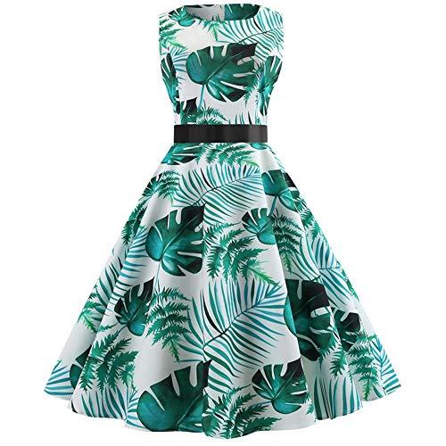 VEMOW Elegante Damen Vintage Bodycon Sleeveless Halter beiläufige Tägliche Abend Party Prom Bow Brautjungfern Swing Dress Faltenrock A-Linie Rock(X4-Blau, EU-44/CN-XL)