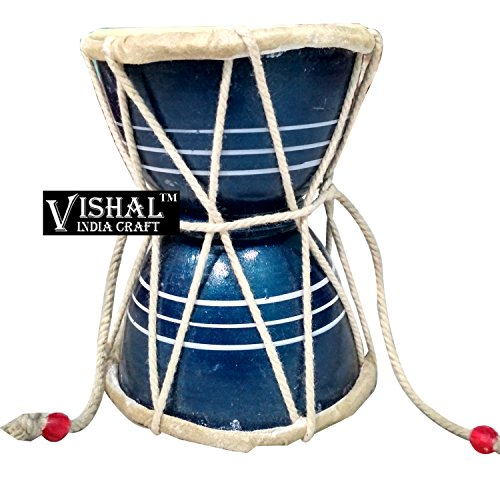 VISHAL INDIA MART HANDMADE WOODEN DAMROO FOR HOME OFFICE TEMPLE, BLUE COLOR DAMRU - GIFT ITEM  available at amazon for Rs.269