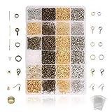 Jeteven 3000 tlg DIY Schmuckherstellung Zubehör,3 Farben Schmuck Basteln Zubehör, Kette ohrringe spaltringe verschluss für Ohrring Armband Halsketten Anfänger (3000tlg)