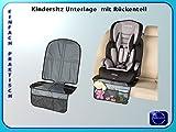 Kindersitz Unterlage mit drei Netztaschen und Rückenteil. Geeignet für ISOFIX Kindersitze!Passend unter alle Kindersitz Arten. Gute Autositzschutz.