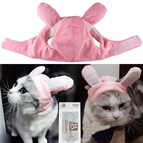 Bolbove Bro 'Bear Bunny Kaninchen Hat mit Ohren für Katzen und Kleine Hunde Party Kostüm Zubehör Kopfbedeckung, Small, Pink Bunny (Bear Kopf Kostüm)