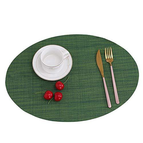 GODGETS Set de Table Rond Lavable Résistantes à la Chaleur Antidérapant,Vert,45 * 32.5CM(Lot de 4 Pics)
