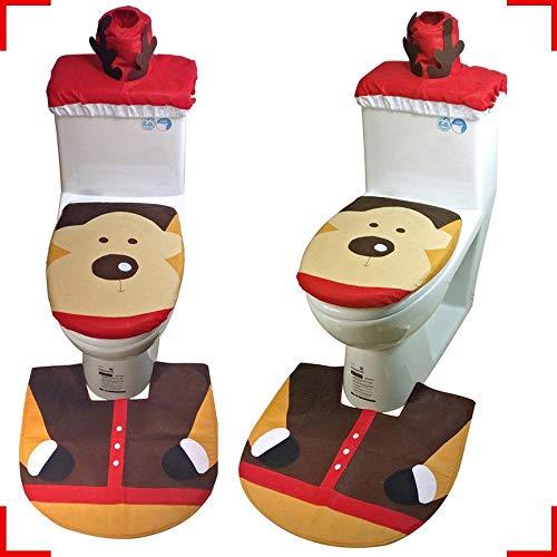 Lxj Christmas Elch WC Set Elf WC Set dreiteilige Weihnachten WC Deckel Weihnachten Pflegeprodukte - Elch Wc