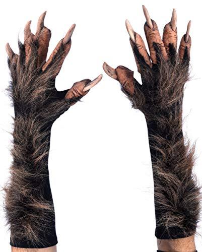 Horror-Shop Braune Werwolf Handschuhe mit Kunstfell als Halloween Kostümzubehör