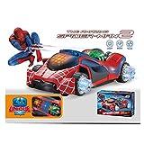 #10: Kids_Bazar Flashing LED Spiderman Stunt Toy Car 3D Light ,Sound RC Boy Racing Gift