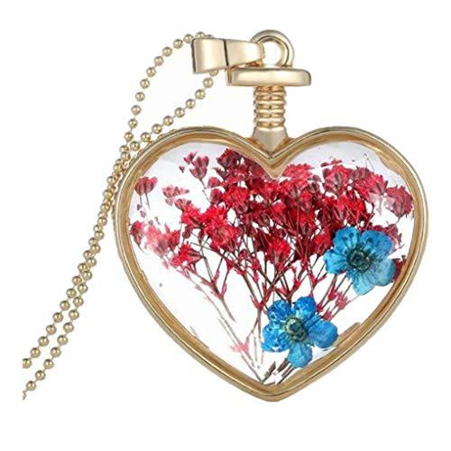 Dorical Frauen Liebes-Herz Anhänger Schmuck, mit Getrocknete blumen Kristall, Halskette Damen, Schmuck Damen, Geburtstagsgeschenk, Kette Damen(C)