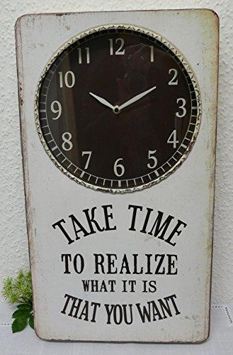 Uhr aus Metall vintage rechtwinklig weiss und Schrift Take Time 31x6x54,8cm