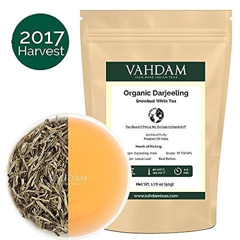 Organic Silver Needle White Tea Leaves from Darjeeling (25 Cups),