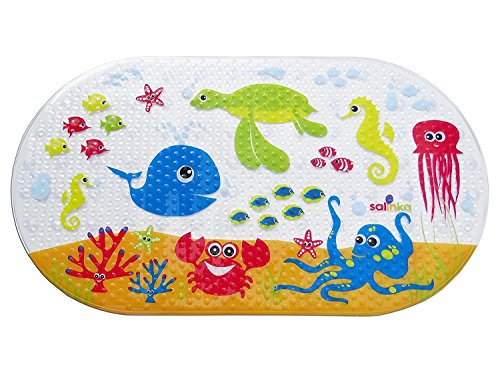 Salinka Rutschfeste Badematte Ozean - FREI von Phatalaten und Blei - Rutschfeste Matte für Badewanne und Dusche - aus strapazierfähigem mehltau- und schimmelresistentem PVC (Lange Baby-badewanne Matte)