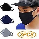Witery Atemschutzmaske mit antibakterieller Aktivkohle, gegen Staub, Gesichts- und Mundmaske, wärmend, Antifog-Beschichtung, mit Ohrschlaufen, für Herren und Damen