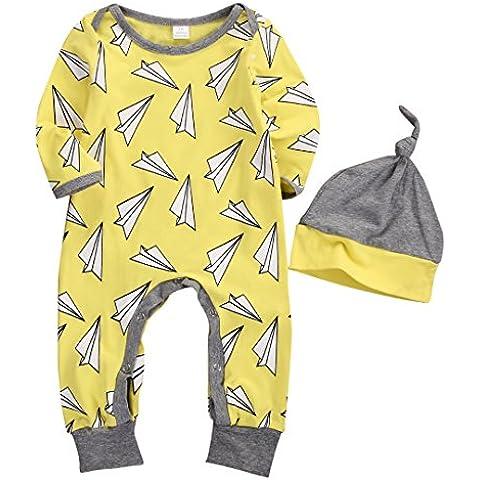 Per bambini bambino Gril aereo Stampa Maniche Lunghe Cotone Pagliaccetto Tuta Vestiti Set Cappello