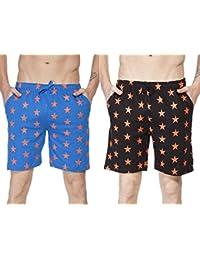 Clifton Men's Star Printed Shorts Pack Of 2-Royal Blue/Deep Orange-Black/Deep Orange