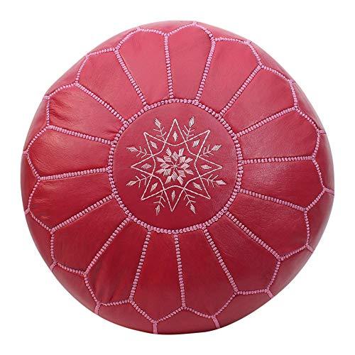 Essence of Morocco marokkanischer Hocker Fußbank Ottoman Echtleder rosa Rose handgefertigt mit besticktem Design, Leder, Rose, Cover ONLY -