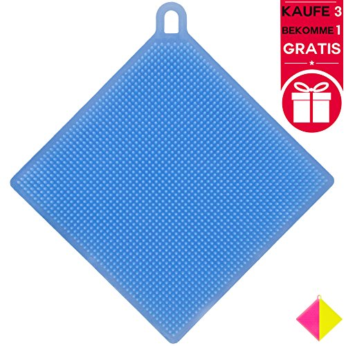 Exklusiver Silikonschwamm extra sanft - multifunktionaler Küchenhelfer - hochwertiger Schwamm für Küche und Spüle aus Silikon - komfortabel als Topflappen, Spülschwamm, Fusselbürste (Blau)