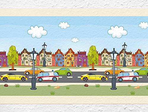 I-love-Wandtattoo b-02-009 Kinderzimmer Bordüre 'Straße' mit Fahrzeugen Kinderdeko