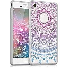 kwmobile Funda para Sony Xperia M4 Aqua - Case para móvil en TPU silicona - Cover trasero Diseño Sol hindú en azul rosa fucsia transparente