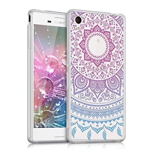 kwmobile Crystal Case Hülle für Sony Xperia M4 Aqua aus TPU Silikon mit Indische Sonne Design - Schutzhülle Cover für Handy und Smartphone klar in Blau Pink Transparent