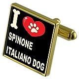 Select Gifts Ich liebe meinen Hund Gold-Tone Manschettenknöpfe - Spinone Italiano