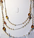 Reiki Jewels Silver And Citrine Long Chain Necklace.