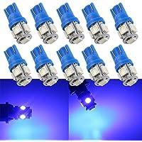 Lote de 10bombillas LED de Grandview, muy brillantes con 120lúmenes de potencia, para iluminar el interior del vehículo, el salpicadero, la placa de matrícula o como luz de estacionamiento; la bombilla T10 sustituye a las tradicionales de 12 V 501,168,175,194,2825W5W 5050, color azul