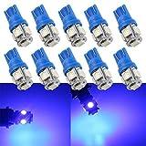 Grandview 10pcs Blau T10 501 194 168 2825 Lampen mit 5-5050-SMD 120 Lumen DC12V 6500K