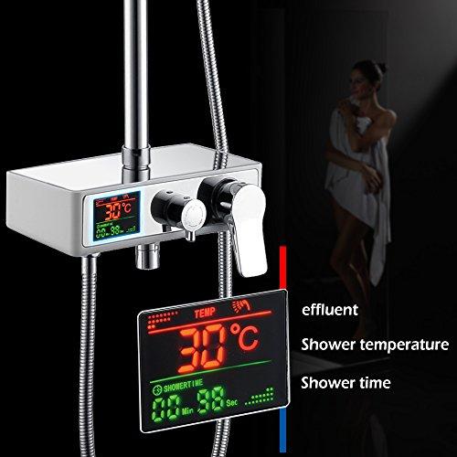 Homelody – Duschsystem mit LCD-Anzeige für Wassertemperatur und Zeit, Chrom - 3