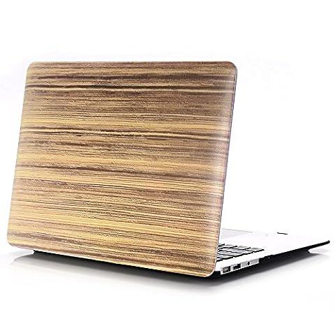 Macbook Air 11 Hülle, L2W Macbook Air 11,6 Zoll Hard Shell Holz Textur Muster Gummi Beschichtet Schutz für MacBook Air 11 Zoll (Modelle: A1370 und A1465)(Parallel Holz Textur Muster MW-14)