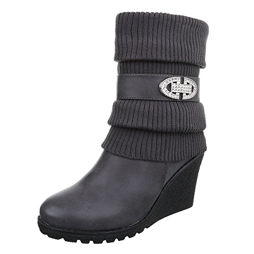 Damen Boots Schuhe Wedge Schnallen Deko Stiefeletten Grau 36 37 38 39 40 41 Grau
